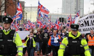 Belfast union flag march