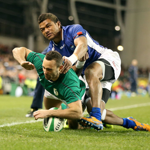 Dave Kearney had a dream debut, dotting down two tries