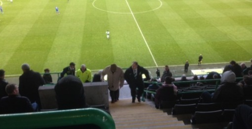 Terry Butcher taking his seat at Easter Road